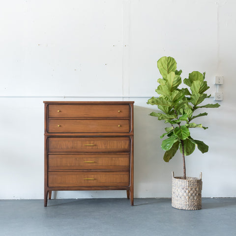 Mid Century Walnut Highboy Dresser