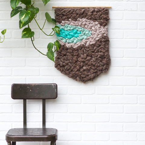 Large Woven Wall Hanging, Chocolate + Mint