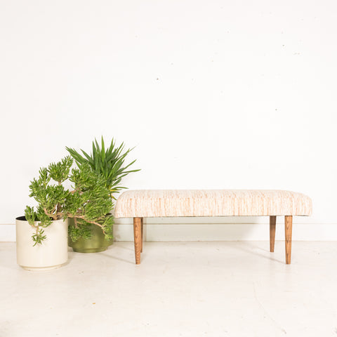 Modern Handmade Bench - Off White/Orange