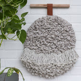 Neutral Round Woven Wall Hanging with Fringe