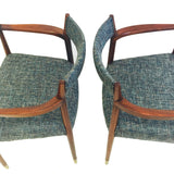 Pair of Mid Century Teal Occasional Chairs