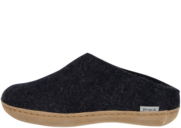 Glerups The Slip-On With Leather Sole Charcoal
