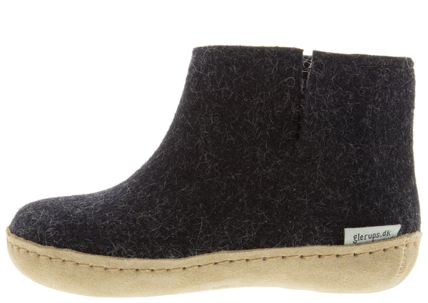Glerups Childrens The Boot With Leather Sole Charcoal