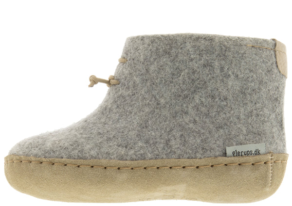 Glerups Toddlers The Boot With Leather Sole Grey