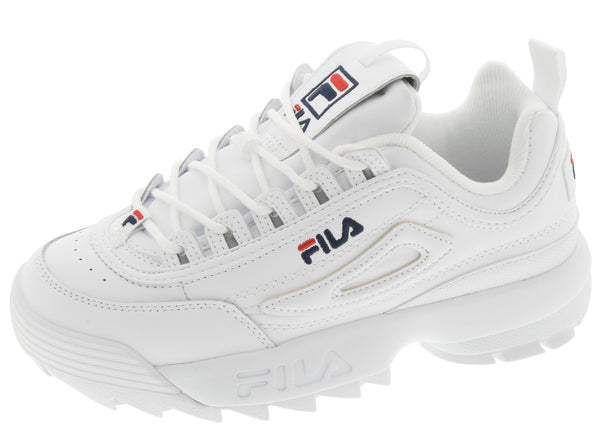 FILA Womens Disruptor II Premium White Fila Navy Fila Red