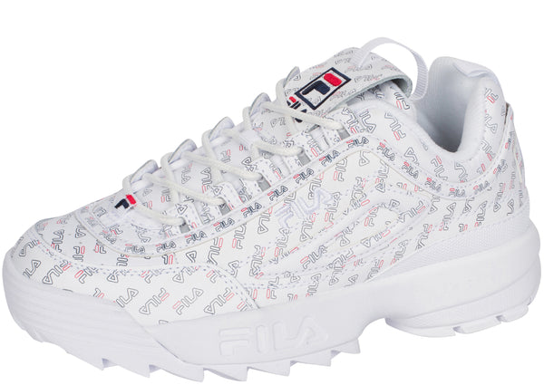 FILA Womens Disruptor II Multi White Fila Navy Fila Red