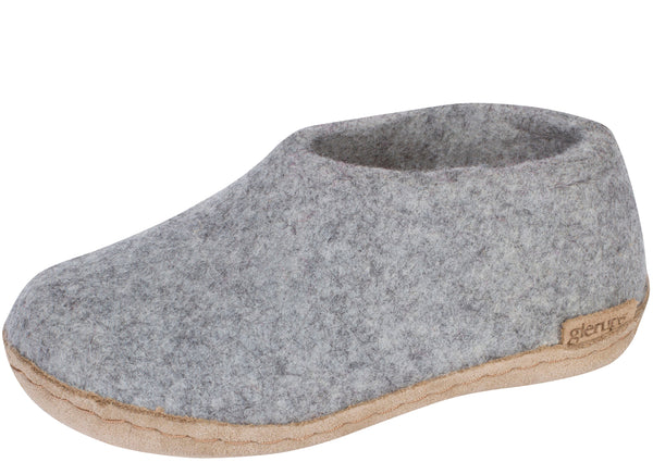 Glerups Childrens The Shoe With Leather Sole Grey
