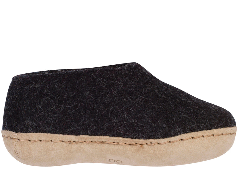 Glerups Childrens The Shoe With Leather Sole Charcoal