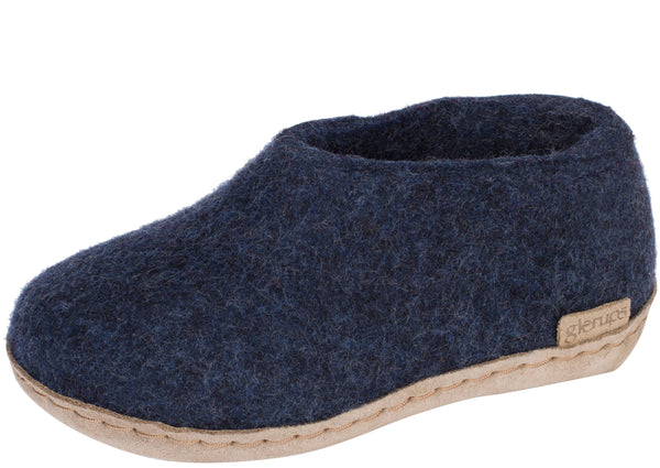 Glerups Childrens The Shoe With Leather Sole Denim