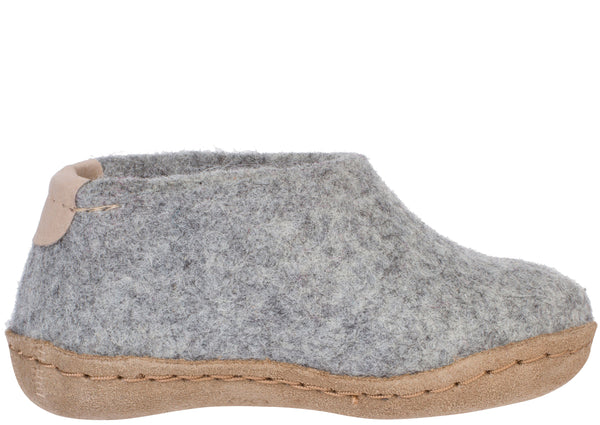 Glerups Toddlers The Shoe With Leather Sole Grey