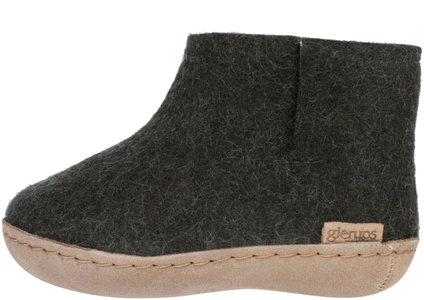 Glerups Childrens The Boot With Leather Sole Forest