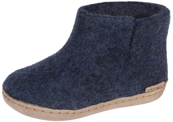 Glerups Childrens The Boot With Leather Sole Denim