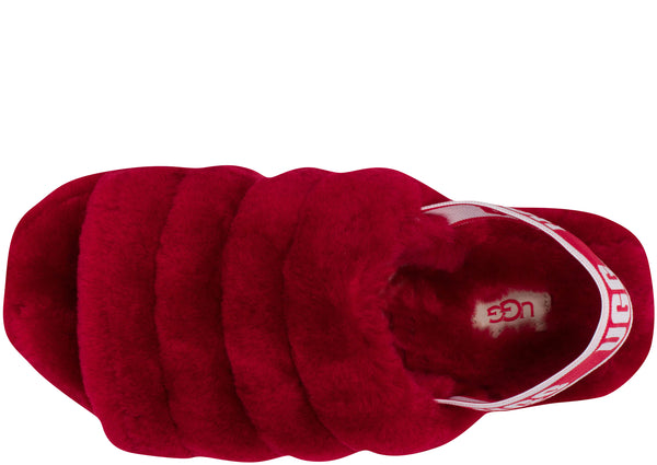 UGG Womens Fluff Yeah Slide Ribbon Red