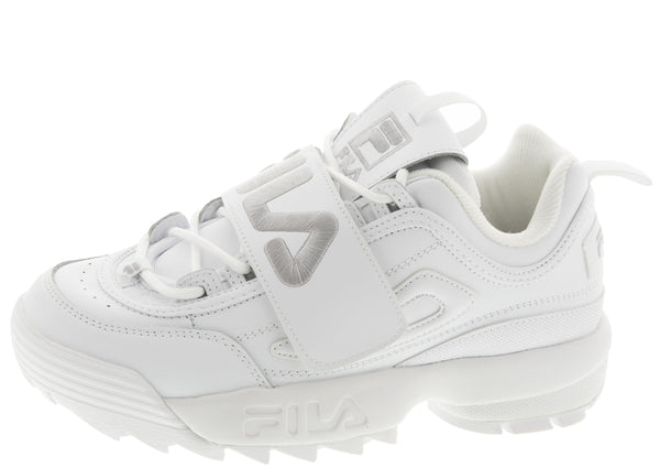 FILA Womens Disruptor II Applique White Metallic Silver