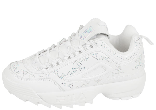 FILA Womens Disruptor II Diamante White White Iridescent