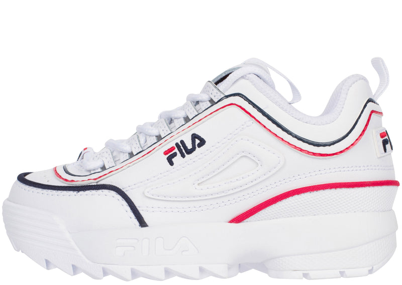 FILA Childrens Disruptor II Contrast Piping White Fila Navy Fila Red