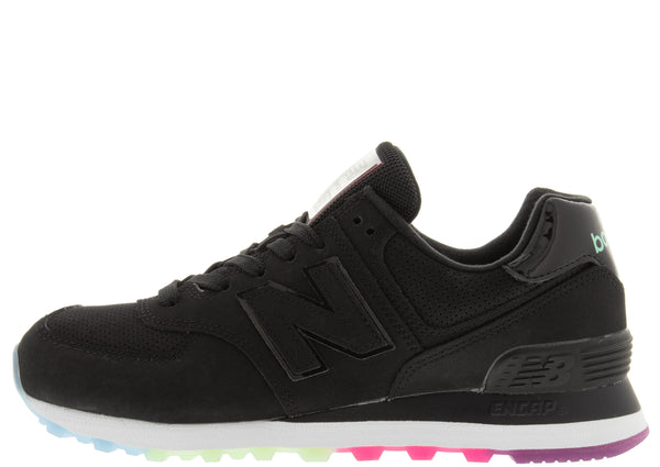 New Balance Womens 574 Black Neo Mint Outer Glow