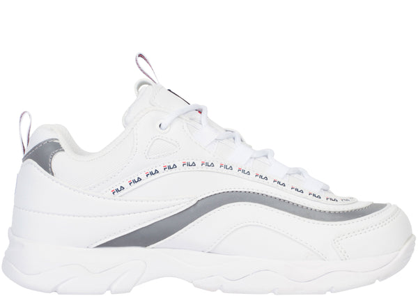 FILA Womens Fila Ray White Navy Metallic Silver
