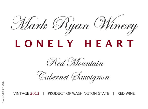 Mark Ryan Lonely Heart Cabernet Sauvignon 2015