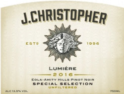 J. Christopher Lumiere Special Selection Eola-Amity Hills Pinot noir 2016