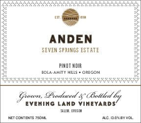 Evening Land Seven Springs Vineyard Anden Pinot noir 2016