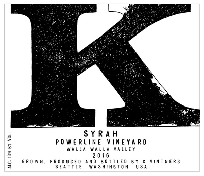 K Vintners Powerline Syrah 2016