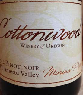 Cottonwood Marina Piper Pinot noir 2012