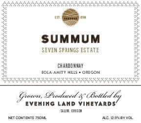 Evening Land Seven Springs Vineyard Summum Chardonnay 2016