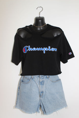 VINTAGE 90s CHAMPION 'TORN' CROP S