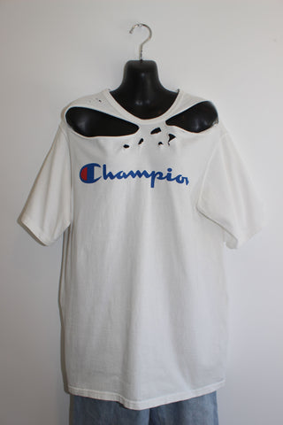 VINTAGE 90s CHAMPION RIPPED TEE L