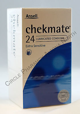 24 Genuine Ansell Chekmate Lubricated Condoms Extra Sensitive Pleasure Checkmate