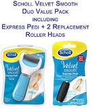 Scholl Velvet Smooth Express Pedi Foot File & 2 Replacement Rollers Duo Pack