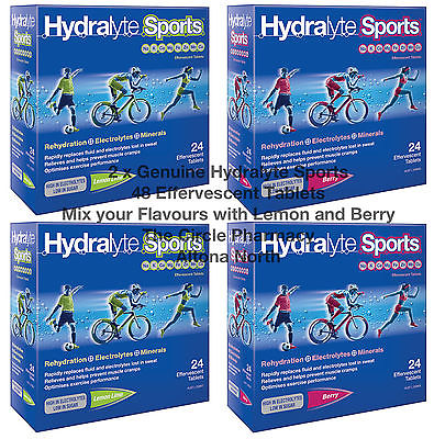 2x Hydralyte Sports Mix Lemon Lime Berry Flavour 48 Effervescent Tab Electrolyte