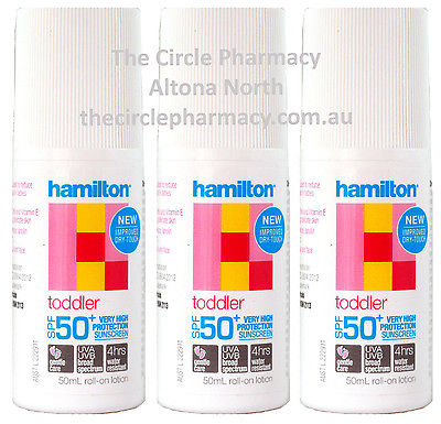 HAMILTON TODDLER SPF50+ 3x50ml Sunscreen NEW DryTouch Reduce Potential Allergies