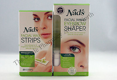 Nads Facial Wax Strips & Wand Eyebrow Shaper Hair removal Duo Pack Nad's Deal