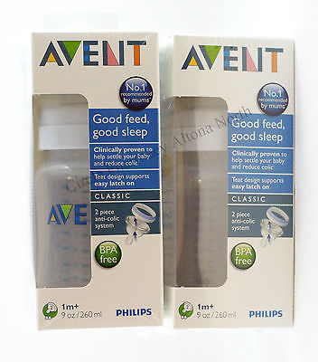 Philips Avent 2 x Feeding Bottle anti-collic 260ml & 1 months+ Teats *BPA Free