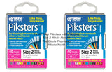 2 x 40 Pack = 80 Piksters Size 2 Interdental White Handle Brush Like Floss