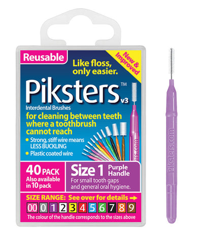 2 x 40 Pack = 80 Piksters Size 1 Interdental Purple Handle Brush Like Floss