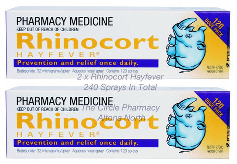 2 x Rhinocort Hayfever Aqueous Nasal Spray 2 x 120 Doses 32mcg Relief Prevention
