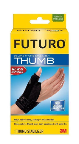 Genuine 3M Futuro Thumb Deluxe Stabiliser Relieve Joint Pain Sizes S-XL in Black
