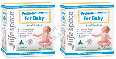 Genuine 2 x Life Space Probiotic Powder For Baby Broad Spectrum 48 x 2g Sachets