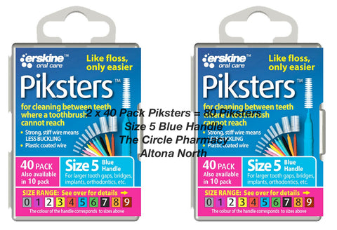 2 x 40 Pack = 80 Piksters Size 5 Interdental Blue Handle Brush Like Floss