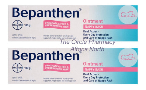 2 x Bepanthen Nappy Rash Baby Skin Care 2x100g=200g Protects w/ Pro-Vitamin B5