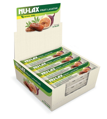 20 x 40g Nu-lax Bars Natural Fruit Laxative Dried Fruit Fig Herb Senna Nulax