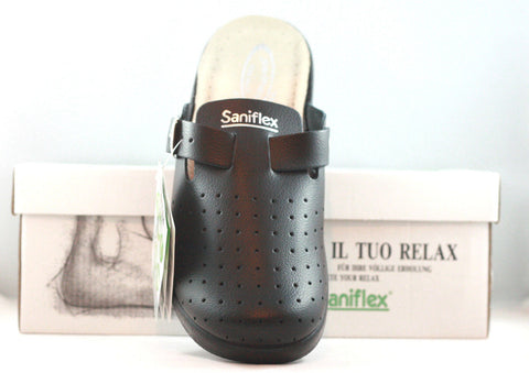 SANIFLEX Leather Lady Clogs with Buckle*Nursing Clogs *Sanitary Hospital Shoes