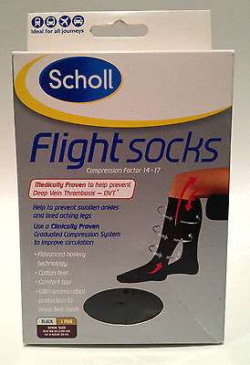 Genuine Scholl Flight DVT Socks Black *Size AUS W5-W8 M3-M6 UK 3-6 EUR 35 - 39