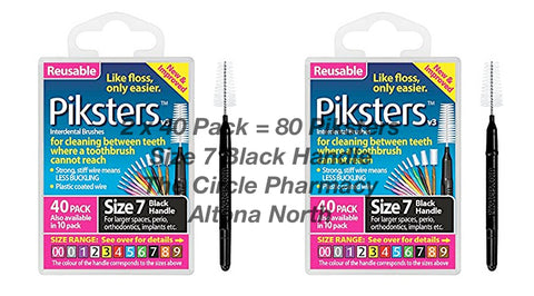 2 x 40 Pack = 80 Piksters Size 7 Interdental Black Handle Brush Like Floss