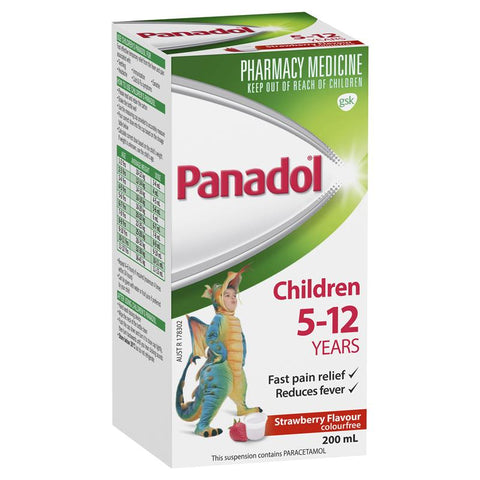 Panadol Children 5-12 Years Strawberry Flavour Colourfree 200mL
