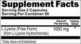 BUY 1 GET 2 FREE L-Lysine Free Form 1000mg 100 or 200 Capsules
