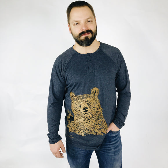 Men's Henley Long Sleeve - Hey Bear!